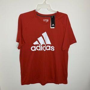 NWT Adidas Mens 2XL Red Big Logo Short Sleeve